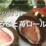 【低糖質レシピ】レンジで3分!簡単丸ごと苺♬︎♡おからパウダーで作るチョコレートロールケーキの作り方|ラカント糖質制限ダイエット Low Carb